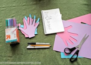 teacher appreciation simple handprint card supplies