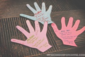 teacher appreciation simple handprint card