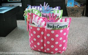 teacher appreciation simple handprint card and gift tote